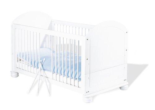 Pinolino-111622-Kinderbett-Clara-140-x-70-cm-mit-3-Schlupfsprossen-aus-vollmassiver-Fichte-wei-lasiert