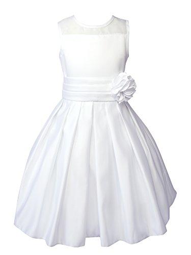 Spring Notion Big Girls Sheer Neckline Satin Tea Length Flower Girl Dress White Size 10