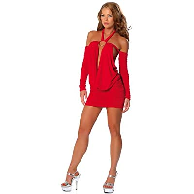 Sexy Girls Dress: Sexy Legs Girls in O-Ring Halter Neck Cowl Mini Dress With Off-Shoulder Sleeves