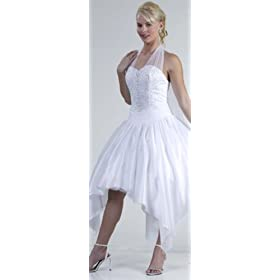 Halter white wedding gown dress