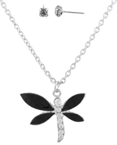 3 Sets of Silver with Black Dragonfly Pendant with a 20 Inch Adjustable Link Chain Necklace & Matching Stud Earrings Jewelry Set