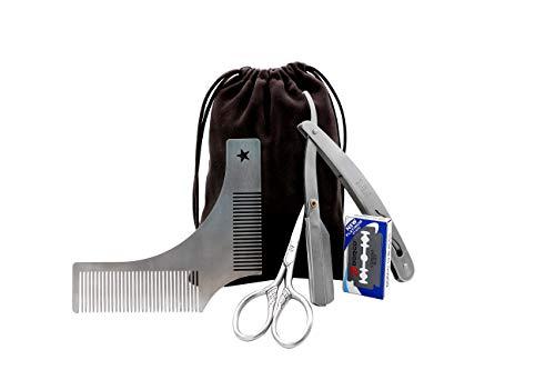 Beard Grooming Kit for Men, Beard Shaping Styling Gift Set with Inbuilt Comb, Straight Edge Razor, 10 Double Edged Blades, Scissors &Bag â?? 3 In 1