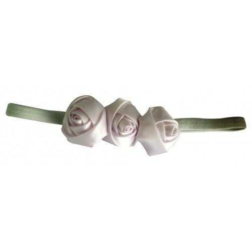 PinkXenia White 3 Rosset Flower Elastic Newborn BabyGirl Soft Headband