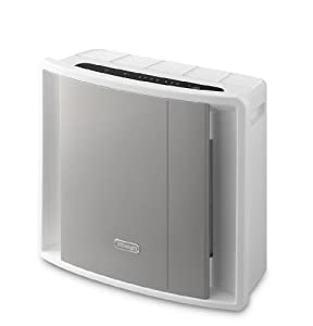 Delonghi AC100 40 Watt Compact Air Purifier 3 Level Filtration and Ioniser - White/ Grey