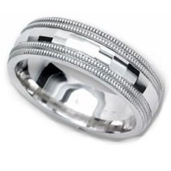 5.00 Millimeters Palladium 950 Wedding Band Ring Beaded Edge and Design, Comfort Fit Style SE135PD, Finger Size 7¾