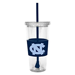 Buy NCAA North Carolina Tar Heels 22 Ounce Insulated Tumbler with Rubber Sleeve and Stir Straw by Boelter Brands