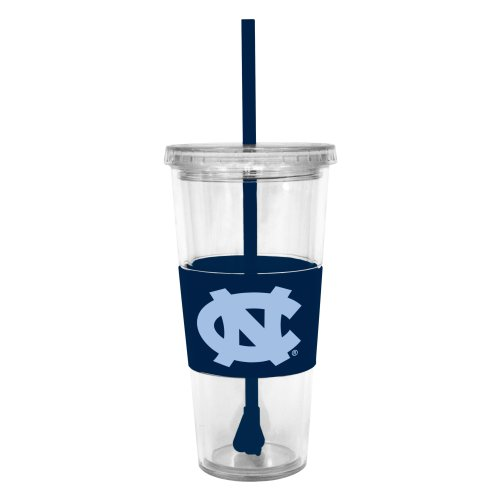Ncaa North Carolina Tar Heels 22 Ounce Insulated Tumbler With Rubber Sleeve And Stir Straw