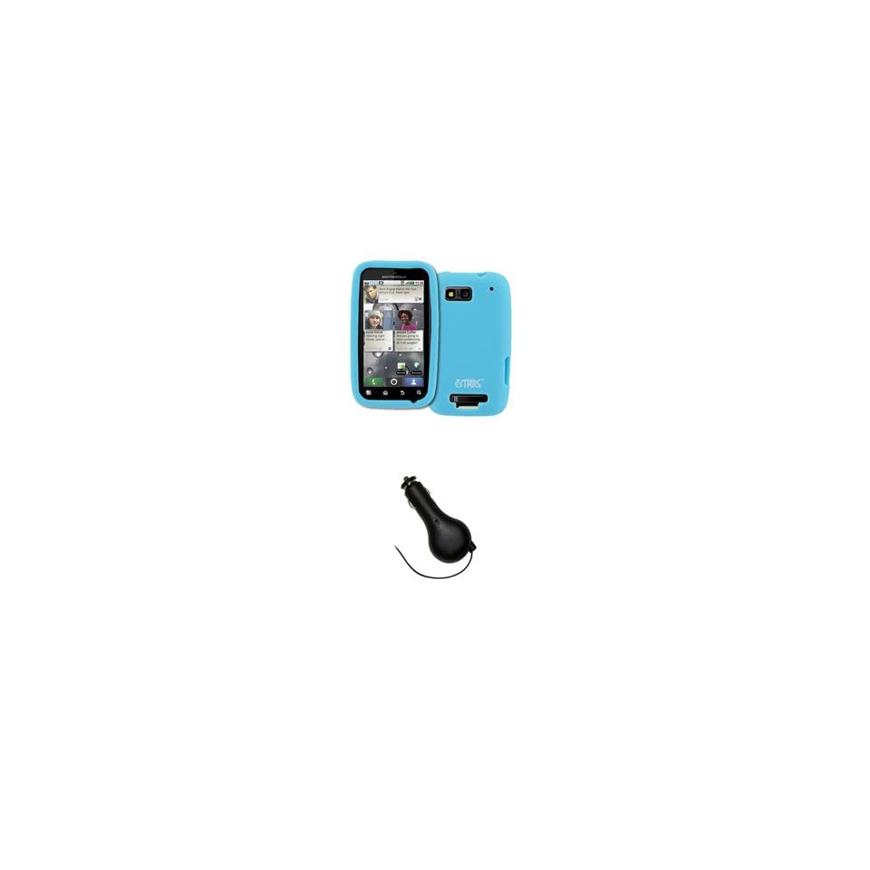 EMPIRE Light Blue Silicone Skin Case Cover + Retractable Car Charger (CLA) for T Mobile Motorola Defy MB525