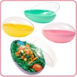 "Jumbo Easter Egg Plastic Egg Shaped Containers Assorted Pastel Colors, 7 3/4"" - Set of 2 - 1"