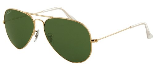 Image of RAY BAN RB 3025 001/58 RAYBAN NATURAL GREEN POLARIZED LENS & ARISTA FRAME SIZE 55-14-135 SUNGLASSES