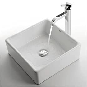 "Ceramic 5"" x 15"" Square Sink in White with Ramus Single Lever Faucet Finish: Chrome"