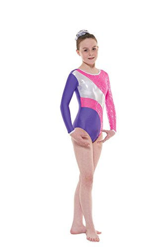 tappers-pointers-gym38-long-sleeved-foiled-nylon-lycra-leotard-pink-purple-9-10-years