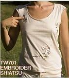 ki-shirts TW701 Shiatsu beeツボモチーフ エンベロイダー ショートフレンチスリーブTシャツ オフホワイトS