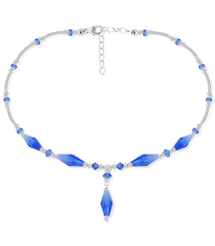 Sterling Silver Clear and Dark Blue Crystal Necklace 24 inch Made with Swarovski Elements