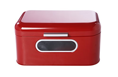 Bread Box For Kitchen - Bread Bin Storage Container For Loaves, Pastries, and More 12 x 7.25 x 6.25 Inches, Red by Juvale
