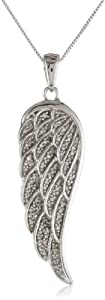 "10k White Gold Angel Wing Diamond Pendant Necklace (1/5 cttw, I-J Color, I2-I3 Clarity), 18"" from Amazon Curated Collection"