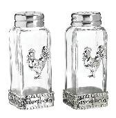Ganz Glass and Zinc Rooster Salt and Pepper Shakers - Rooster