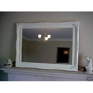 BLANC BRILLANT MIROIR SHABBY CHIC RECTANGULAIRE AVEC PRIME QUALITE VERRE - TOTAL DIMENSIONS: 75cm x 105cm - VERRE 60cm x 90cm - AUTRES TAILLES DISPONIBLES 31n9KmKNhTL._SL500_AA300_