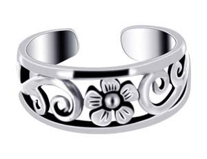 LWTS032 Sterling Silver Polish Finish 6mm Flower Toe Ring