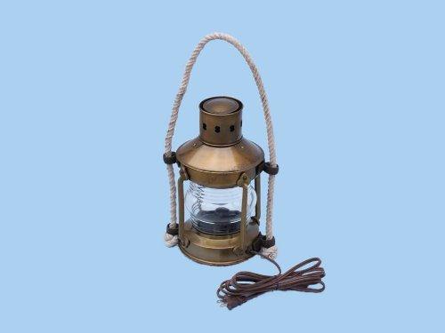 "Handcrafted Nautical Decor Brass Round Anchor Electric Lantern, 16"", Brass"