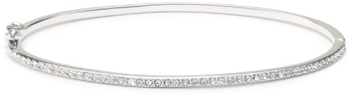 Judith Jack Sterling Silver Crystal Hinged Bangle Bracelet