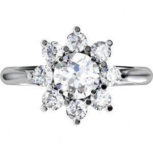 14k White Gold Rough Diamond Cluster Ring 1 3/4 - JewelryWeb