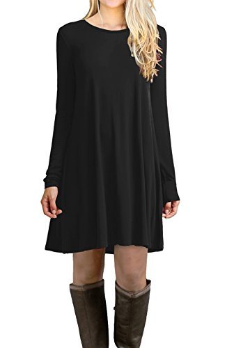 LILBETTER Women's Long Sleeve Casual Loose T-Shirt Dress (Black XL)