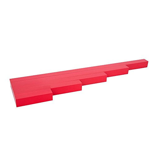 Montessori Math Materials Long Red Rods 5 Steps