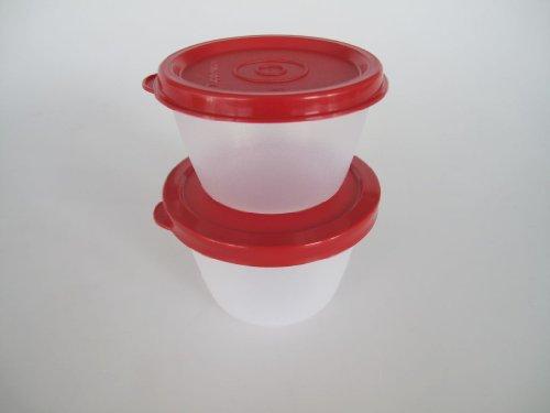 TUPPERWARE Uno Duo Dose Box Vorrat Kühlschrank (2) rot 150 ml 120 ml