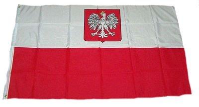 Fahne / Flagge Polen mit Wappen NEU 90 x 150