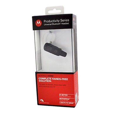 New Motorola Hx550 Universal Bluetooth Headset Wireless Text Voice Comfort Black