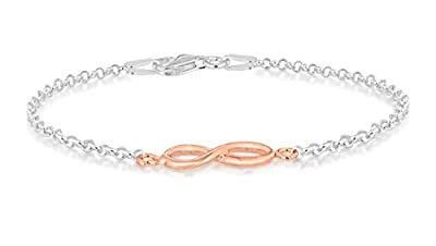 Tuscany Silver Rose Gold Plated Diamond Cut Infinity Belcher Bracelet 19cm/7.5""