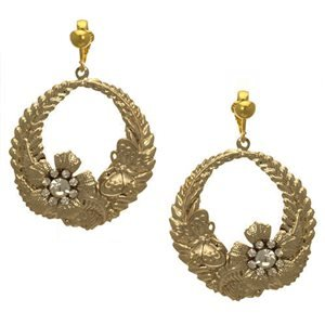 Baccarat Gold Crystal Clip On Earrings