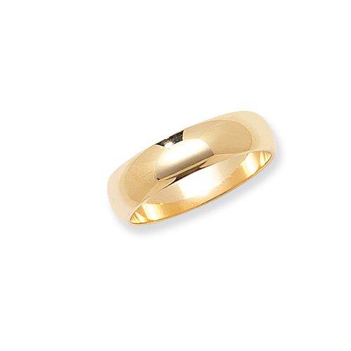 9ct yellow gold 5mm D-shape wedding ring (ultra light)