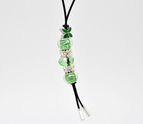 Divine Beads Handmade Real Leather Lariat Charm Necklace Complete With Co-ordinating Green Beads fits Pandora, Biagi, Tedora, Chamilia, Bacio, Troll and other European style bracelets