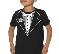 Tuxedo With White Flower Kids T-Shirt (Black) #6