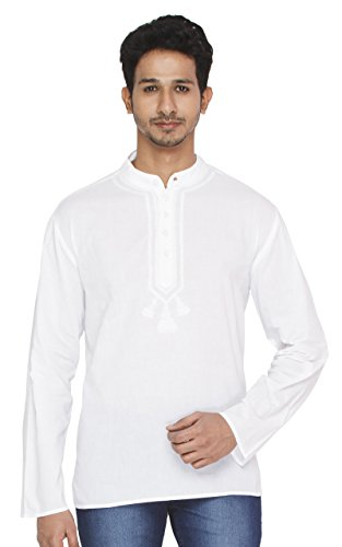 Indian Clothing Men's Kurta Tunic Banded Collar Embroidered Neckline Shirt