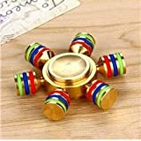 Knick Knack Hexagon Metal Fidget Hand Spinner Brass Toy For Anxiety Stress EDC ADHD For Kids/Adults - Alloy With High Speed Ceramic Bearing Golden With Pouch Pack