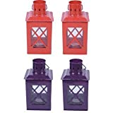 Sutra Décor Tealight Hut Candle Holder Lantern Set4
