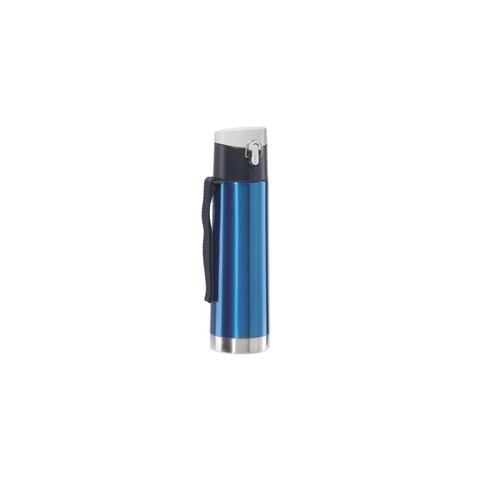 Oggi 5050.5 Lustre Stainless Steel Double Wall Sport Bottle with Spring Loaded Flip Top, Blue
