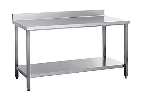 ASG Edelstahl Arbeitstisch 1600 x 700 x850 mm mit Grundboden mit Aufkantung Edelstahlarbeitstisch Edelstahltisch Kuchentisch Tisch Made in Germany