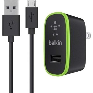 Belkin Universal Home Charger with Micro USB ChargeSync Cable (10 Watt/ 2.1 Amp) - 10 W Output Power - 110 V AC, 220 V AC Input Voltage - 5 V DC Output Voltage - 2.10 A Output Current - F8M667TT04-BLK from Belkin Components