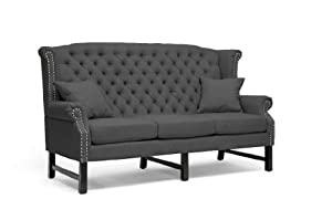 Baxton Studio Sussex Linen Sofa, Dark Gray