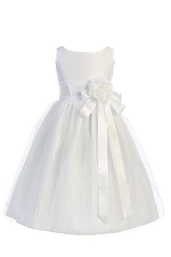 Vintage Satin Tulle Special Occasion Flower Girl Dress Toddler White 2T