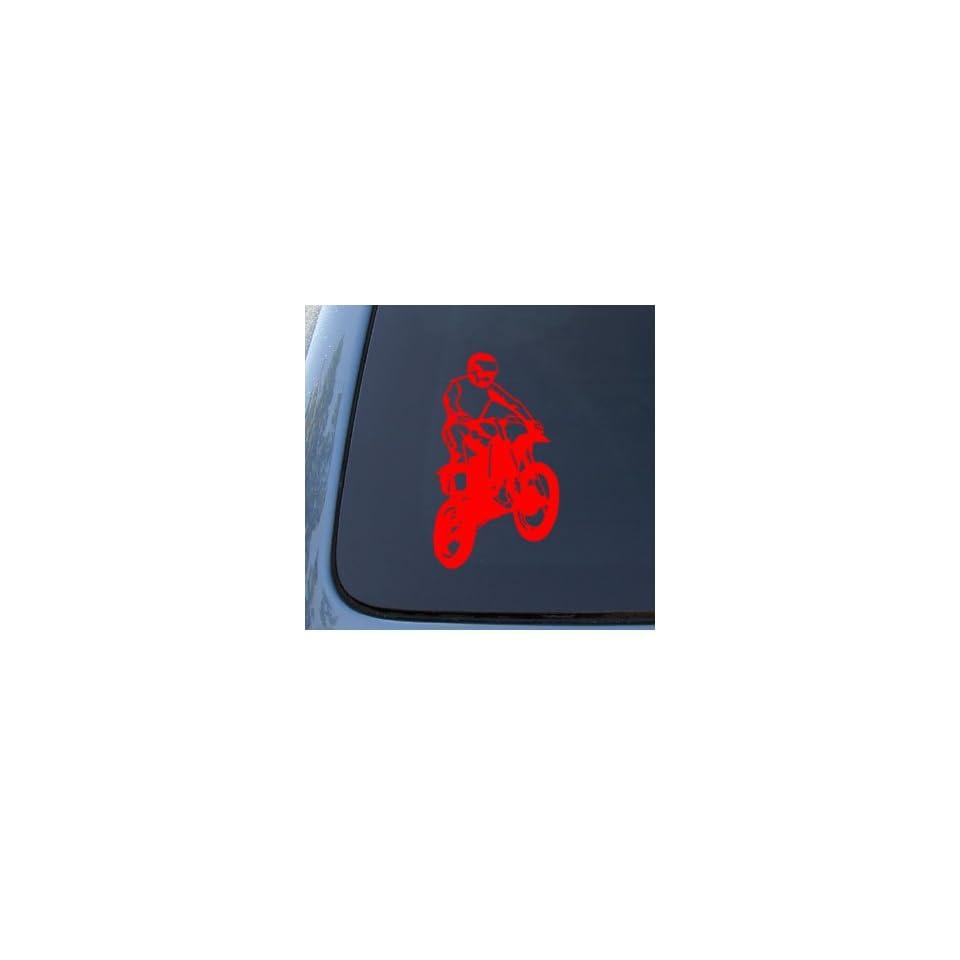 DIRT BIKE   Off Road Sport   Car, Truck, Notebook, Vinyl Decal Sticker #1192  Vinyl Color Red