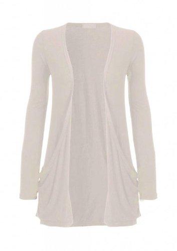 Hot Hanger Ladies Plus Size Pocket Long Sleeve Cardigan 16-26 (24-26 XXXL, Stone)