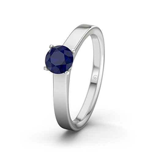 21DIAMONDS Women's Ring Genoa Blue Sapphire Diamond Engagement Ring - Silver Engagement Ring