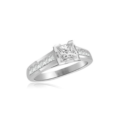0.60 carat Diamond Engagement Ring for Women. G/SI1 Solitaire Princess Cut with Shoulder set Diamonds 18ct White Gold