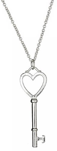 Sterling Silver Heart Key Necklace 24