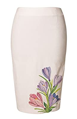 Vietsbay's Hand Drawn Flowers Women Wear to Work Straight Pencil Skirt Sz 0-18